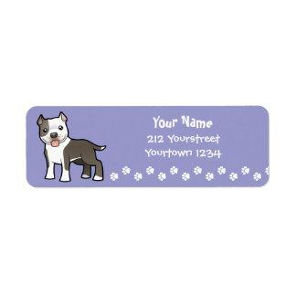 Cartoon Pitbull / American Staffordshire Terrier Return Address Label