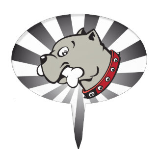 Cartoon Pitbull Head - Grey Beam Cake pick