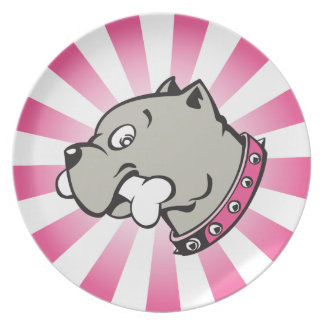 Cartoon Pitbull Head - Pink Beam Plate