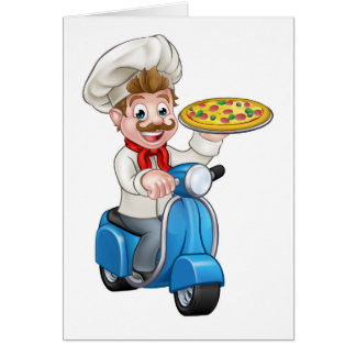 Cartoon Pizza Chef on Delivery Moped Scooter Card