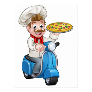 Cartoon Pizza Chef on Delivery Moped Scooter Postcard