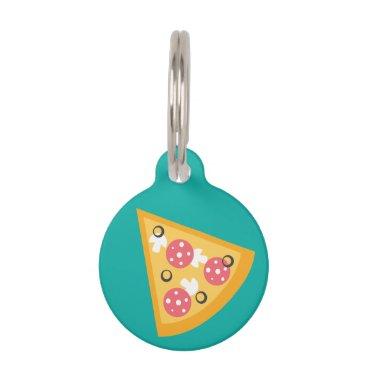 Beach Themed Cartoon Pizza Slice Pet Name Tag