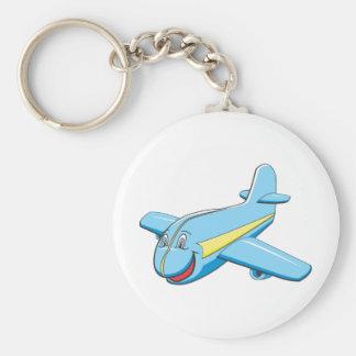 Cartoon plane basic round button keychain