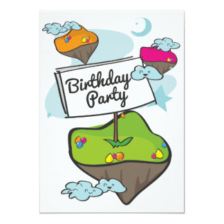 Cartoon Planet Birthday Party Card