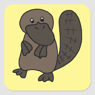 Cartoon Platypus Square Sticker
