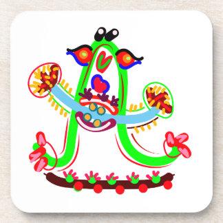 Cartoon Play with Alphabet A Beverage Coaster