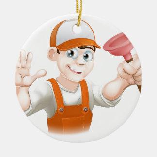 Cartoon Plumber holding Plunger Ceramic Ornament