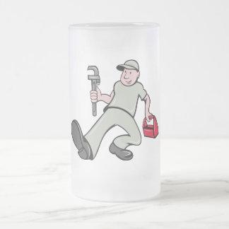 Cartoon Plumber monkey wrench stepping forward Mug
