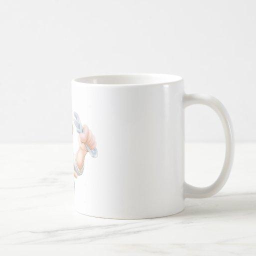 Cartoon plumber or mechanic pointing classic white coffee mug