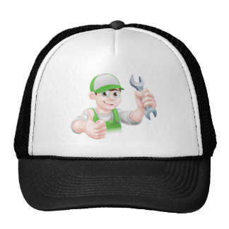 Cartoon Plumber Trucker Hat