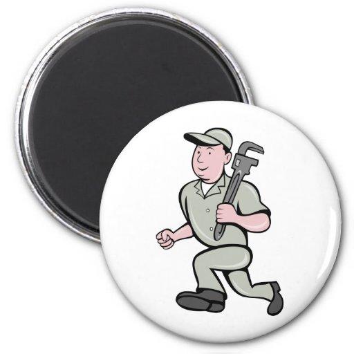 Cartoon Plumber with monkey wrench running Fridge Magnets