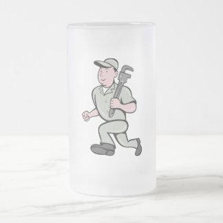 Cartoon Plumber with monkey wrench running Mugs