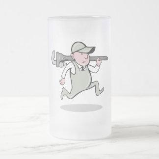 Cartoon Plumber with monkey wrench running Mug
