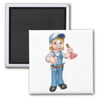 Cartoon Plumber Woman Holding Plunger Magnet