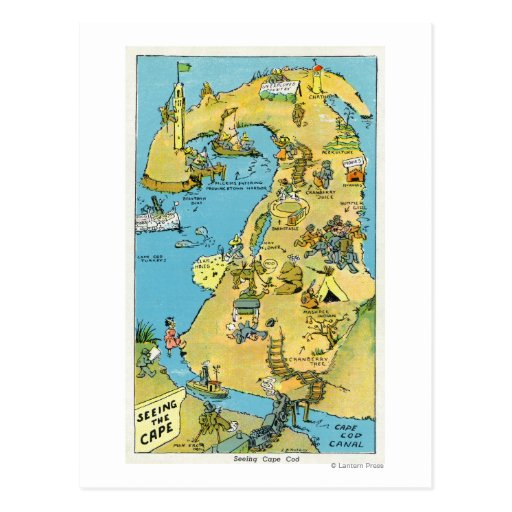 Cartoon Points of Interest on Cape Cod Postcards
