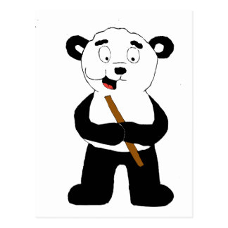 Cartoon Polar Bear Eating Bamboo Postcard