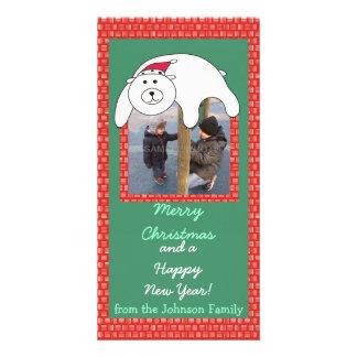 Cartoon Polar Bear Lying on Your Photo Xmas Card