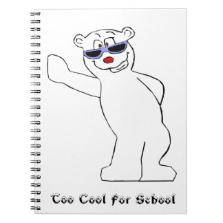Cartoon Polar Bear With Cool Shades Spiral Note Book