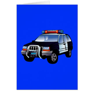 Cartoon Police Car Card