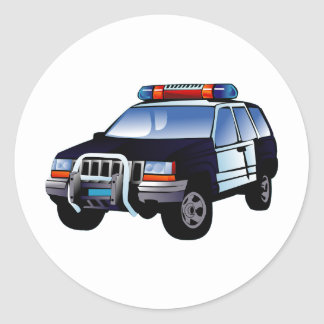 Cartoon Police Car Classic Round Sticker