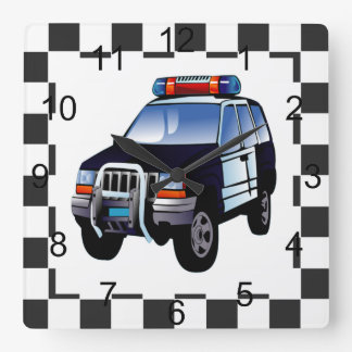 Cartoon Police Car On A Checked Background Square Wall Clock
