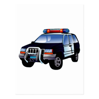 Cartoon Police Car Postcard