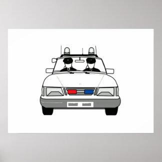 Cartoon Police Car Poster