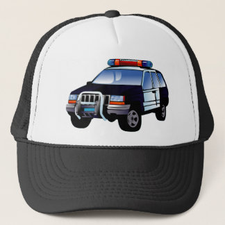 Cartoon Police Car Trucker Hat