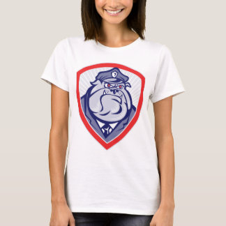 Cartoon Police Dog Watchdog Bulldog Shield T-Shirt