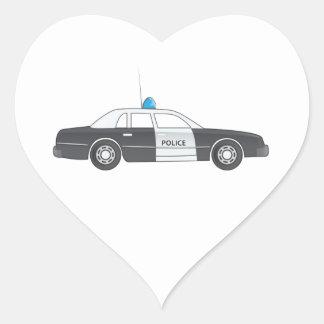 Cartoon Police Patrol Car Heart Sticker