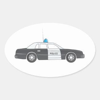 Cartoon Police Patrol Car Oval Sticker