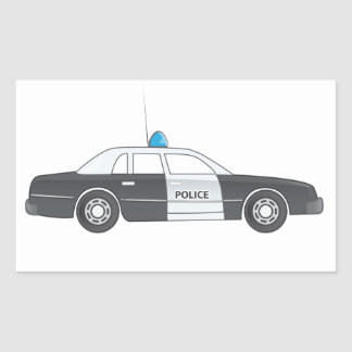 Cartoon Police Patrol Car Rectangular Sticker