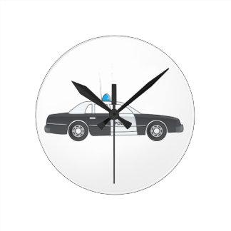 Cartoon Police Patrol Car Round Clock