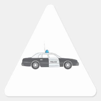Cartoon Police Patrol Car Triangle Sticker