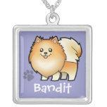 Cartoon Pomeranian (add your pets name) Necklace