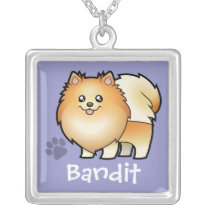 Cartoon Pomeranian (add your pets name) Silver Plated Necklace