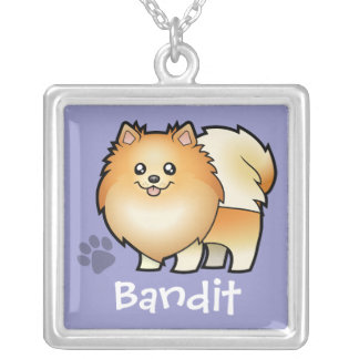 Cartoon Pomeranian (add your pets name) Square Pendant Necklace