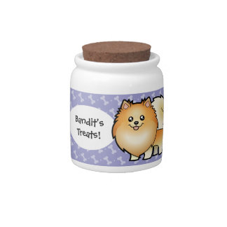 Cartoon Pomeranian Candy Jars