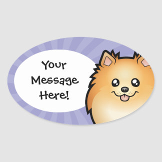 Cartoon Pomeranian Oval Sticker