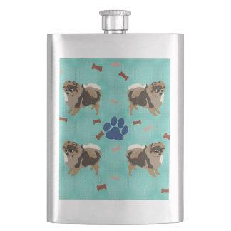 Cartoon Pomeranian Hip Flasks