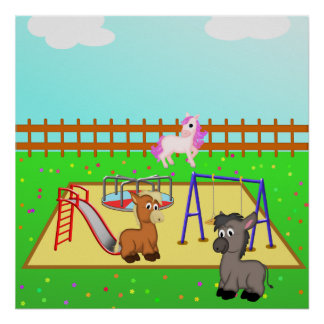 Cartoon Ponies & Donkey in Playground from $12.80 Posters