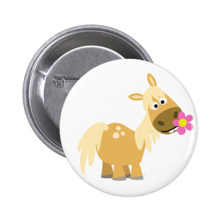 Cartoon Pony and Flower button badge