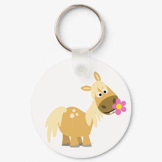 Cartoon Pony and Flower keychain keychain