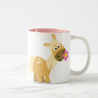 Cartoon Pony and Flower mug mug