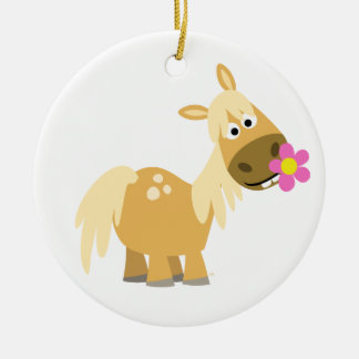 Cartoon Pony and Flower Ornament