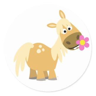 Cartoon Pony and Flower sticker sticker