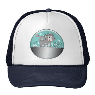 Cartoon Poodle in Metal Tub with Bubbles Trucker Hat