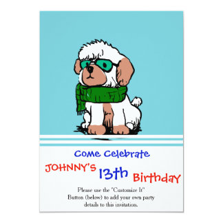 Cartoon poodle with sunglasses card