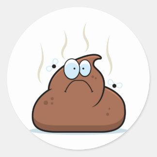 Cartoon Poop Classic Round Sticker