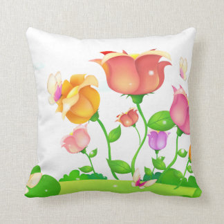 Cartoon Poppies and Butterflies American MoJo Pillows